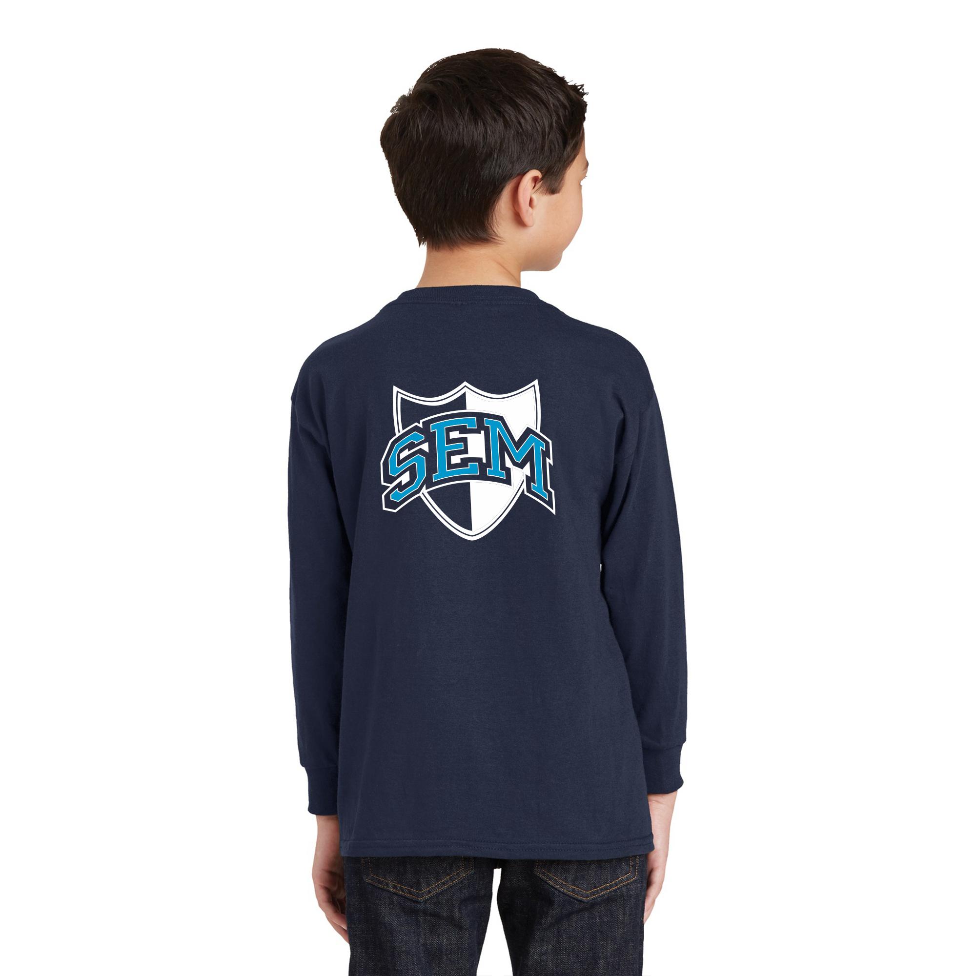 d4636201e Wyoming Seminary Navy Youth Heavy Cotton 100% Cotton Long Sleeve T-Shirt