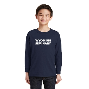 Wyoming Seminary Navy Youth Heavy Cotton 100% Cotton Long Sleeve T-Shirt