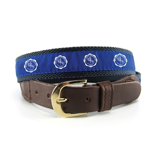 Wyoming Seminary Adult Leather Belt w/ Woven Fabric