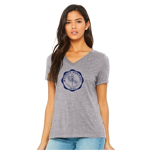 Wyoming Seminary Ladies Relaxed Jersey Short-Sleeve V-Neck T-Shirt