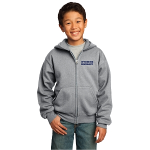 Wyoming Seminary Athletic Heather Youth Core Fleece Full-Zip Hooded Sweatshirt