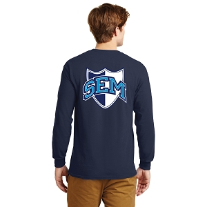 Wyoming Seminary Navy 100% Cotton Long Sleeve T Shirt