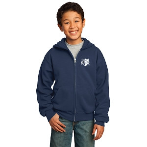 Wyoming Seminary Navy Youth Core Fleece Full-Zip Hooded Sweatshirt